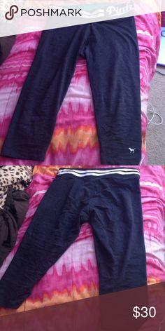 PINK leggings size L Dark gray , LOVE PINK yoga leggings. Size large. In very good condition. PINK Victoria's Secret Pants Leggings