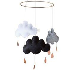 Wolken Mobile schwarz / weiss / grau nordliebe.com