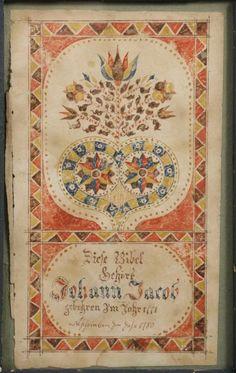 Miniature Watercolor Fraktur for Johann Jacob, 1780, Pennsylvania Dutch, a page from his Bible