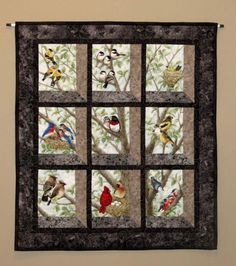 Quilted and Pieced Wall Hanging, Attic Window, Birds in Tree from MiniMade on Etsy. Quilting Projects, Quilting Designs, Vogel Quilt, Bird Quilt Blocks, Big Block Quilts, Attic Window Quilts, Panel Quilts, Quilted Wall Hangings, Small Quilts