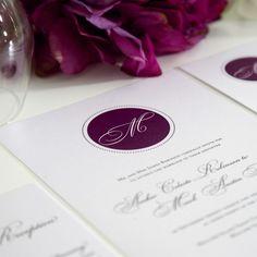 Purple Wedding Invitations Circle Monogram by shineinvitations, $6.50