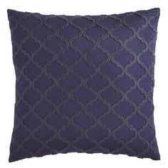"Indigo Paisley Embroidered 18"" Square Pillow"