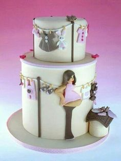 A super cute baby shower cake! Proof that you don't have to only settle for those weird headless-armless-torso-belly cakes for a baby shower. Cute Cakes, Pretty Cakes, Beautiful Cakes, Amazing Cakes, Baby Cakes, Cupcake Cakes, Cake For Baby, Pink Cakes, 3d Cakes