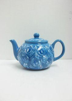 New Blue Ceramic Teapot Scandinavian Teapot Hand by FolkArtByNancy