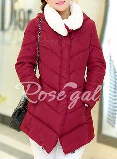 Fashionable Turn-Down Collar Long Sleeve Zippered Down Coat For Women