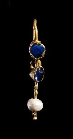 "antiquitystuff: ""Roman gold earring set with two sapphires and a pearl Image from the Thorvaldsen Museum via their online collection: H1824 """