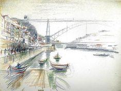 Nadir Afonso -Ponte Luís I -Portugal Watercolour Painting, Watercolors, Nadir Afonso, Porto Portugal, Douro, Terra, Portuguese, Painters, Pencil
