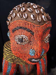 carved figure embelished with beads, Bamileke people, Cameroon Grasslands African Masks, African Art, Myths & Monsters, Textile Patterns, Floral Patterns, Haida Art, African Textiles, Japanese Patterns, African Culture