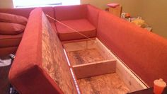 DIY Storage Sectional - free plans - also from Ana-white.com. Also intended for use as guest bed!