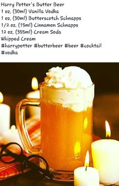 Delicious, homemade butterbeer recipe with creamy butterbeer foam just like the Wizarding World of Harry Potter Alcoholic Butterbeer, Butterbeer Recipe, Alcoholic Beverages, Halloween Cocktails, Halloween Party, Creepy Halloween, Alcohol Drink Recipes, Beer Recipes, Yummy Recipes