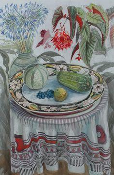 """Harvest platter"" by Richard Bawden Garden Journal, Frozen In Time, 3 Arts, Autumn Trees, Watercolours, Art World, Love Art, Printmaking, Still Life"