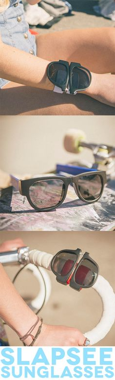 Slapsee Sunnies can quite literally be folded in two and slapped around your wrist, ankle, bike handlebars or whatever else you'd want to wrap a pair of shades around.