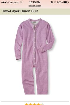 Pink union suit from LL Bean