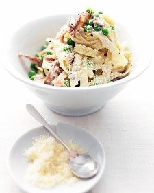 Pasta w/ Prosciutto and Peas. This has a nice light lemon cream sauce, easy to make on a weeknight!*
