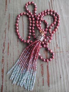 Süßwasser Perlen Quaste Halskette Pink Passion von slashKnots