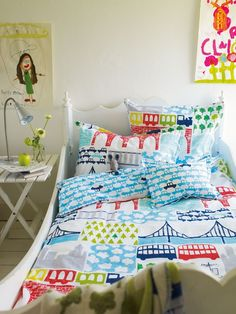 Double Decker bedding by Designers Guild - the perfect bedding for a toddlers room! Designers Guild, Childrens Bed Linen, Cute Bedding, Baby Boy Rooms, Duvet Sets, Room Themes, Kid Beds, Couch, Kids Bedroom