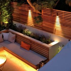 Night London Garden - Western Red Cedar Slatted Screens