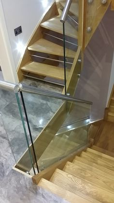 Oak Chrome and glass staircase!