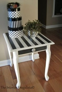 Queen Anne End Table Makeover I found this Queen Anne mass produced red mahogany end table hidden in the corner of a thrift store. Here it is after I gave it a makeover and added some personality! Graphite & Pure White Chalk Paint: