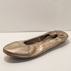 Constonce Gold Leather Shoe Ballet Flats Skimmers Womens Size 9 | Brazil 38 #Constonce #BalletFlats
