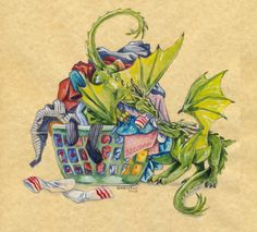 Laundtry Time by Hbruton on DeviantArt Types Of Dragons, Cute Dragons, Dragons Den, Dragon Bird, Big Dragon, Cool Stuff, Fantasy Creatures, Mythical Creatures, Dragon Anatomy