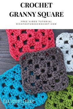 Crochet Granny Square Beginner, Granny Square Pattern Free, Granny Square Häkelanleitung, Beginner Crochet Tutorial, Granny Square Crochet Pattern, Crochet Squares, Crochet Basics, Easy Crochet Patterns, Crochet Designs