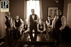 Groom and his groomsmen before wedding with drinks and cigars. Farley plantations. www.lindleysphotography.com