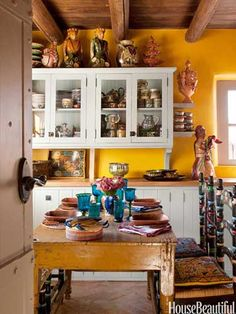 Antique Mexican Table Kitchen Dining Area - Pottery Decorating Ideas - House Beautiful