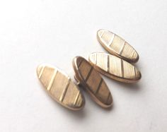 Vintage CHAINLINK CUFFLINKS Gold Tone Double Faced Striped Etched Faces FREE P&P