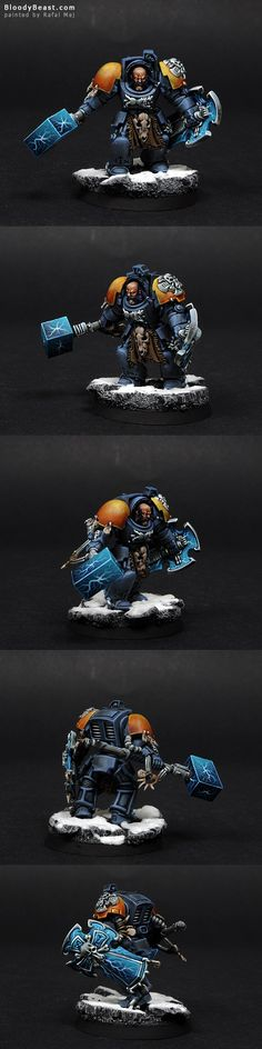 Ah, some Space Wolves again. I love this army. What I really like about my Arjacs conversions is this huge hammer and massive shield. This is how Arjac should look like. Warhammer Paint, Warhammer 40k Art, Warhammer Models, Warhammer 40k Miniatures, Warhammer 40k Space Wolves, Marine Colors, Wolf Painting, Grey Knights, Fantasy Miniatures
