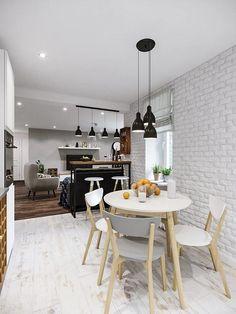 Fiatal család háromszobás lakása - skandináv lakberendezés színekkel, mintákkal, fa textúrákkal Fa, Dining Table, Interior, Kitchen, Furniture, Design, Home Decor, Cooking, Decoration Home