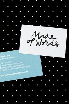 Business card design for Auckland-based creative writer. Made of Words offer their clients a range of unique writing services.  Design by Cheyney is a small business providing a range graphic design solutions. Cheyney is based in Auckland, New Zealand but creates artwork for a range of clients all over the world.