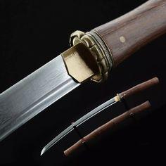 Handmade Bamboo Style Damascus Steel Japanese Wakizashi Sword Samurai Swords - TrueKatana Samurai Swords, Damascus Steel, Bamboo, Japanese, Handmade, Style, Swag, Hand Made, Japanese Language
