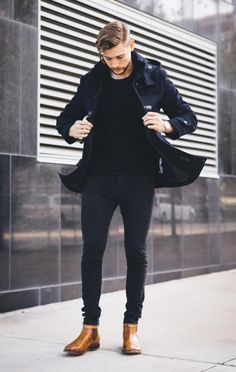 black and brown // menswear, mens style, fashion, boots, denim, jacket, hairstyle