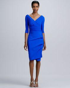 brilliant blue gathered jersey cocktail dress by La Petite Robe by Chiara Boni at Neiman Marcus.