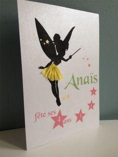 Tuto pour une invitation d'anniversaire sur le thème de la fée clochette rapide et facile, modèle à télécharger pour une carte d'anniversaire fait maison!