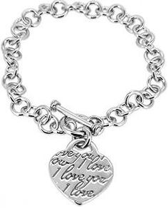 SHOP.COM - Doma Jewellery MAS00125 Sterling Silver Heart Bracelet with Toggle Clasp - I Love You