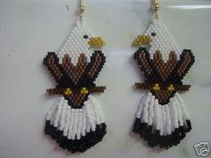 Hand Beaded Bald Eagle earrings