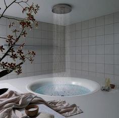 modern bath: rain-fall style shower suspended over circular tub