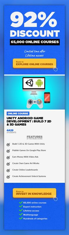 Unity Android Game Development : Build 7 2D & 3D Games Game Development, Development #onlinecourses #studycollege #onlinelessonsdigitalcitizenship  Unity Game Development & Design, Learn Unity Android Game Development with C# & Unity Learn the basic concepts, tools, and functions that you will need to build fully functional Android mobileGameswith the Unity game engine. Build a strong foundati...