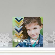 Glitter, chevrons and beautiful blues make this design a perfect #Hanukkah coice. Convivial Chevrons - Flat Holiday Photo Cards in navy blue