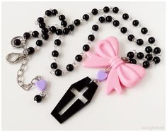 Pastel Goth Coffin Necklace Black Purple and Pink Beaded by gatumi
