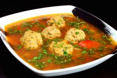 I give you here the recipe for one of the more popular soups in Romania. In fact, we don't even call it a soup: it is a 'ciorba' (pronounce. Pickled Hot Peppers, Soup Recipes, Cooking Recipes, Recipes Dinner, Meatball Soup, European Cuisine, Romanian Food, Romanian Recipes, Soups