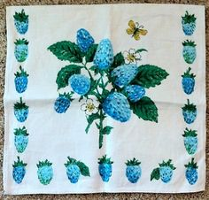 Vintage Blue Turquoise Strawberry Butterfly Tea Towel