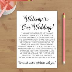 Printable Wedding Welcome Letter, Instant Download, Destination Wedding, Welcome…