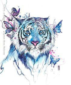 Tigre em azul. Fazer sem as borboletas....Claro...!