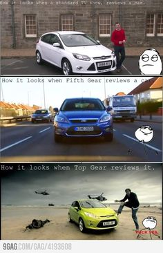 Top Gear haha this show kills me and I don't know a thing about cars