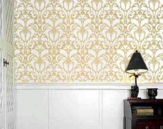 STENCIL for walls - DAMASK no.1 - Large, Reusable Pattern stencil - DIY Home Decor, $53.95