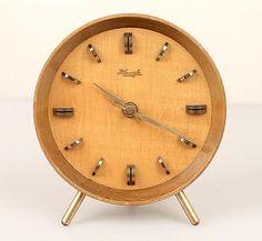 Mid Century Kienzle 8 Days Clock Vintage 1950s Eames Wood Teak Brass 50s : gripper modernism