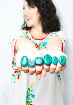 Faux Turquoise Rings #nailpolish #nailpolishcrafts #fauxturquoise #diyrings